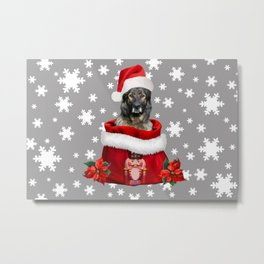 German shepherd dog Christmas nutcracker bag Snowflakes Metal Print
