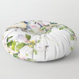 Chickadee and Dogwood Flowers Floor Pillow