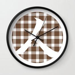 Plaid Coffee Brown Person Wall Clock