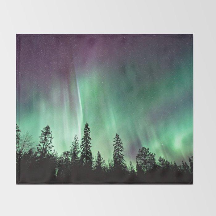 Colorful Northern Lights, Aurora Borealis Throw Blanket