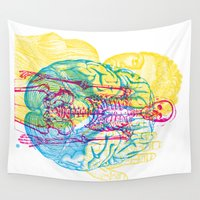 skeleton Wall Tapestries featuring Brain Skeleton by Gary Grayson