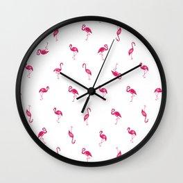 Flamingo Mingle Illustration Wall Clock