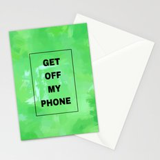 Get off my phone green Stationery Cards
