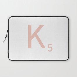 Pink Scrabble Letter K - Scrabble Tile Art and Accessories Laptop Sleeve