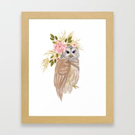 Owl with flower crown Framed Art Print
