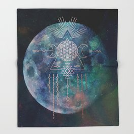 Lunar Goddess Mandala Throw Blanket