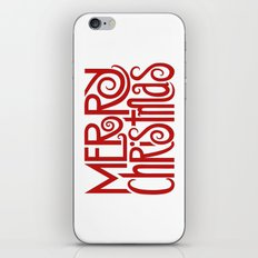 Merry Christmas Text red iPhone & iPod Skin
