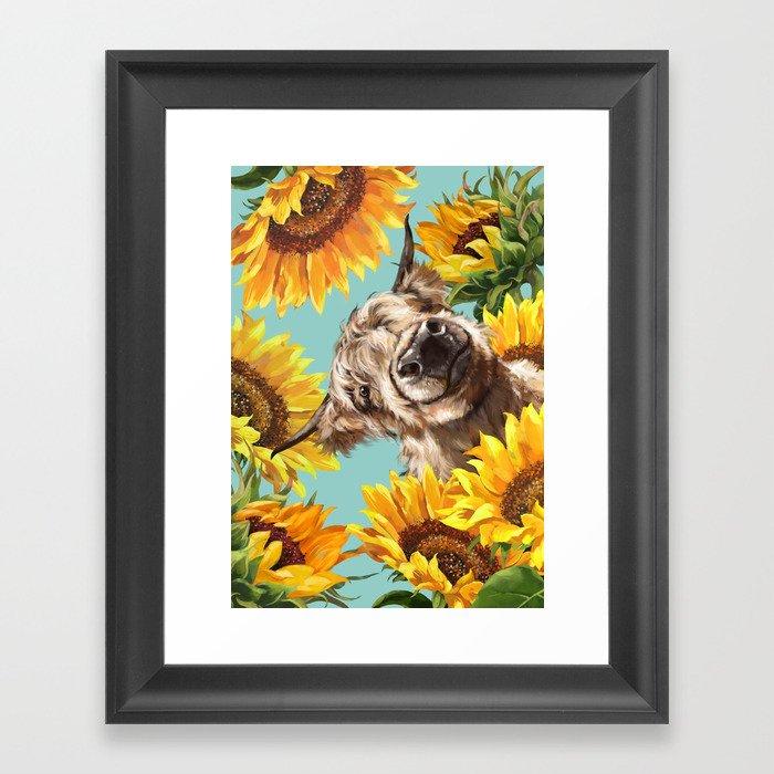 Highland Cow with Sunflowers in Blue Gerahmter Kunstdruck