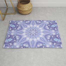 Light Blue, Lavender & White Floral Mandala Rug