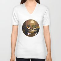 poker V-neck T-shirts featuring Poker by happymiaow