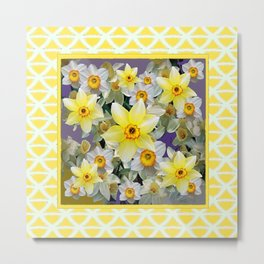 Decorative  Daffodils Spring Flower Garden Yellow Art Metal Print