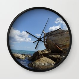 Old Greek fishing boat Zakynthos Wall Clock