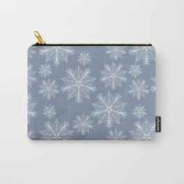 Christmas snowflakes faded denim Carry-All Pouch