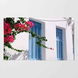 Beautiful Blue Shutters in Greece Rug