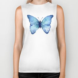 Blue Butterfly Watercolor Biker Tank
