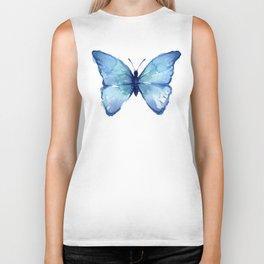 Blue Butterfly Watercolor Biker Tank