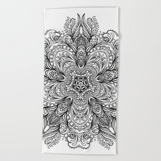 B&W Indian Mandala Beach Towel