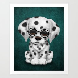 Dalmatian Puppy Wearing Reading Glasses on Blue Art Print