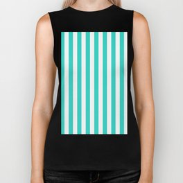 Narrow Vertical Stripes - White and Turquoise Biker Tank