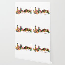 Barcelona Watercolor Skyline Wallpaper