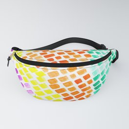 Watercolor Tiles Mosaic Square Colourful Abstract Art Fanny Pack