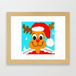 Nadolig llawen reindeer - Merry Christmas wales Framed Art Print