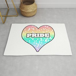 Pastel Pride Mosiac Filled Heart Graphic Design Rug