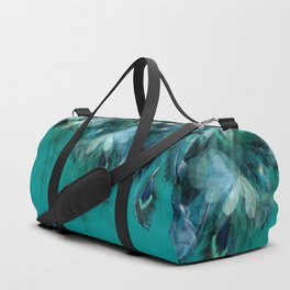 DREAMY FEATHERS & LEAVES - Deep Cyan Duffle Bag