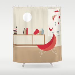 Inside Mid-century modern 120 Shower Curtain