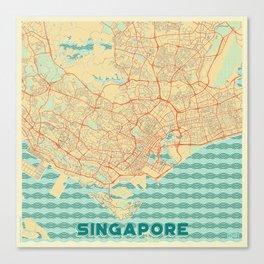 Singapore Map Retro Canvas Print
