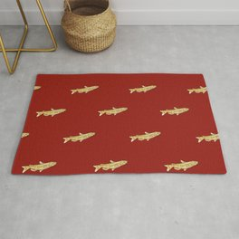 Watercolor Catfish Repeat Red Background Rug