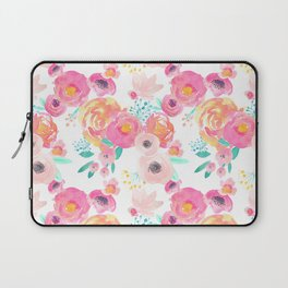 Indy Bloom Design Blush White Florals Laptop Sleeve