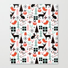 Christmas ornaments minimal holly reindeer candy cane christmas tree pattern print Canvas Print