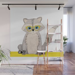 Racoon with glasses Wall Mural