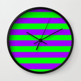 Green and Purple Stripes Wall Clock