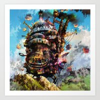 calcifer Art Prints featuring howl's moving castle by ururuty