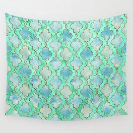 Luxury Aqua Teal Mint and Gold oriental quatrefoil pattern Wall Tapestry
