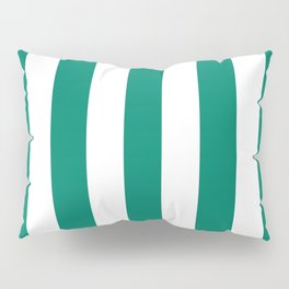Generic viridian green - solid color - white vertical lines pattern Pillow Sham