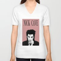 nick cave V-neck T-shirts featuring nick cave by tama-durden
