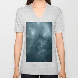 Galaxy : Pleiades Star Cluster NeBula Steel Blue Unisex V-Neck