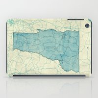 vermont iPad Cases featuring Vermont State Map Blue Vintage by City Art Posters