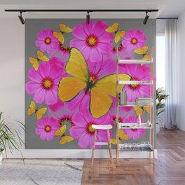 GOLDEN BUTTERFLIES FUCHSIA PINK FLORAL GREY ART Wall Mural