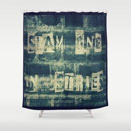 Slam 1 Industries Ransom Note Blue Tone Shower Curtain
