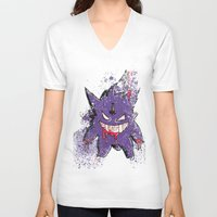 gengar V-neck T-shirts featuring Gengar Mega (dark twist) by Oscar Da Chef Karlsson