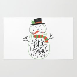 Let it snow cute Christmas snowman With Lettering Rug
