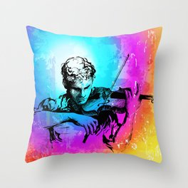 Violin player, violinist musician playing classical music. Music festival concert. Throw Pillow