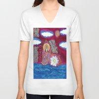 budi satria kwan V-neck T-shirts featuring Offerings-Kwan Yin by J. Lashua Art