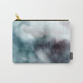 Watercolor Mixed Media Teal Purple Carry-All Pouch