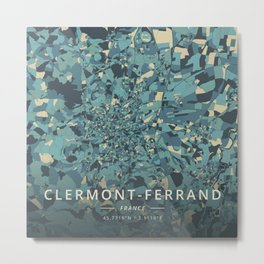 Clermont-Ferrand, France - Cream Blue Metal Print