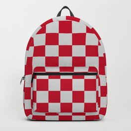 Red and Light Grey Check Backpack